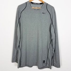 Nike Pro Gray Long Sleeve Fitted Vented Shirt XL